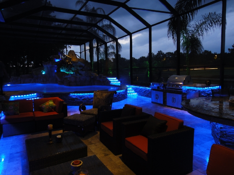 led backyard resort lighting