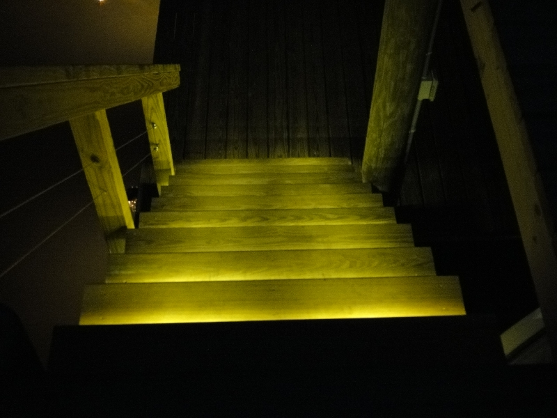 stairs lit with leds