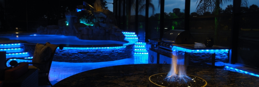 Led Pool Lighting Creates A Backyard Resort